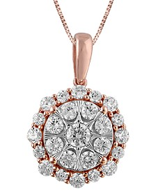 """Diamond Halo Cluster 18"""" Pendant Necklace (1 ct. t.w.) in 14k Rose Gold & White Gold"""