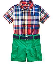 폴로 랄프로렌 남아용 반바지 Polo Ralph Lauren Baby Boys 2-Pc Cotton Madras Plaid Shirt & Cargo Shorts Set,Red Multi