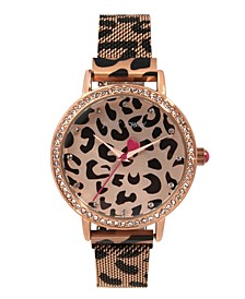 Women's Cheetah Printed Rose Gold-Tone Stainless Steel Bracelet Watch 36mm