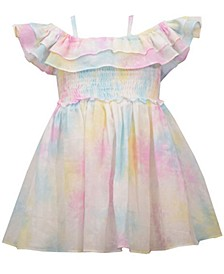 Baby Girls Off-the-Shoulder Pastel Tie-Dye Dress