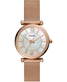 Women's Carlie Rose Gold-Tone Stainless Steel Mesh Bracelet Watch 35mm