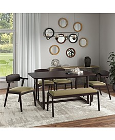 Millie 6 Piece Mid Century Modern Rectangular Espresso Wood Dining Table with Armless Bench and Arm Chairs