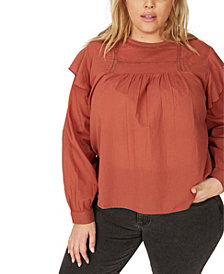 COTTON ON Trendy Plus Size Smock Lace Blouse