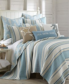 Maui Stripe Reversible King Quilt Set