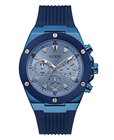 Men's Blue Silicone Multifunction Watch 46mm