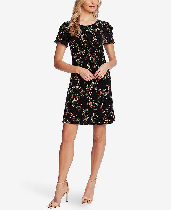 CeCe Printed Ruffled-Sleeve Knit Dress