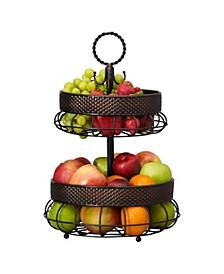 Twist Basket Weave 2 tier Basket with banana hook
