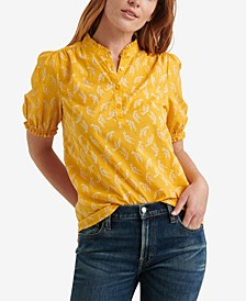 Printed Ruffle-Trimmed Popover Top
