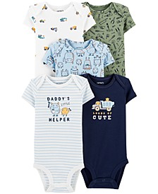 Baby Boys Big Helper Printed Cotton Bodysuits