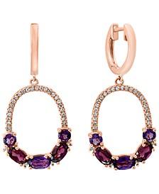 LALI Jewels Rhodolite (1-1/5 ct. t.w.), Amethyst (7/8 ct. t.w.) & Diamond (1/4 ct t.w.) Drop Hoop Earrings in 14k Rose Gold