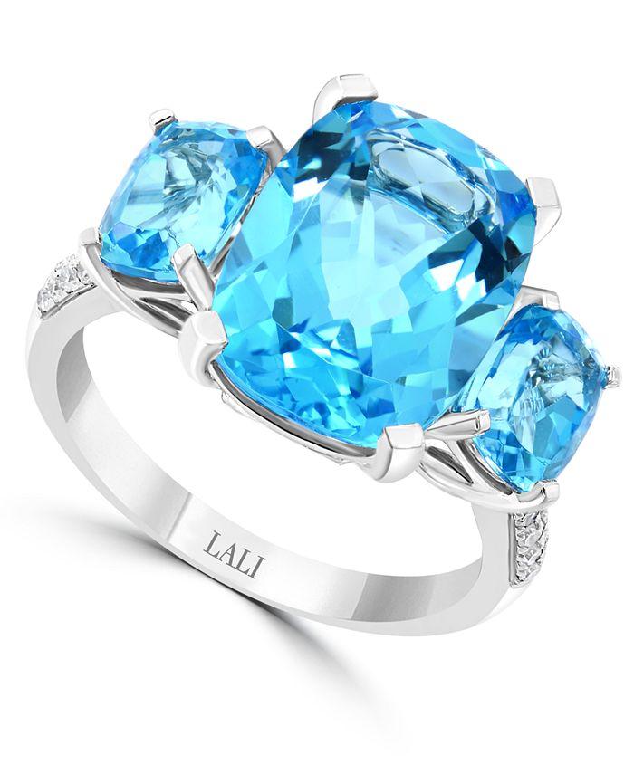 LALI Jewels - Swiss Blue Topaz (10-1/6 ct. t.w.) & Diamond (1/10 ct. t.w.) in 14k White Gold