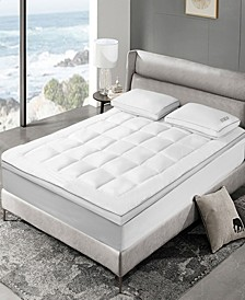 """3"""" White Down Fiber Top Featherbed, Queen"""