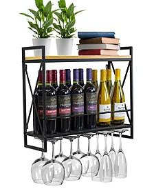 2 Tier Wine Bottle Stemware Glass Rack