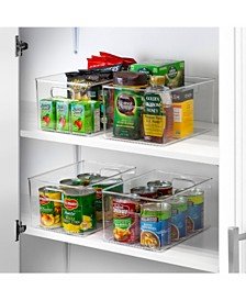 Storage Bins Clear Plastic Organizer Container Holders with Handles