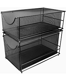 Mesh Steel Cabinet Organizer Set with 2 Pull Out Drawers