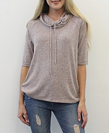 Women's 3/4 Sleeve Cowl Neck Drawstring Top