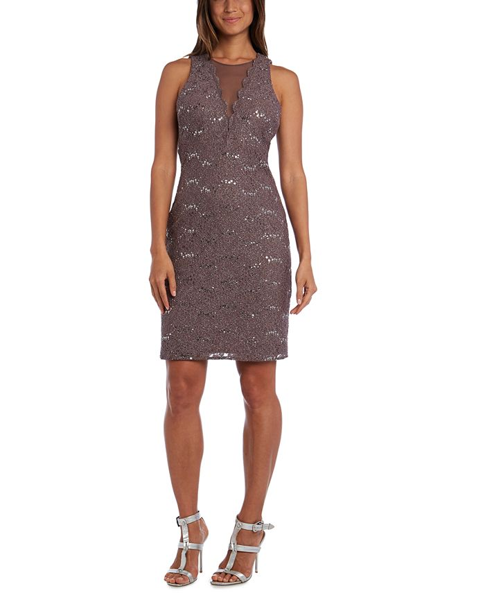 Nightway - Glitter Sequined Lace Cocktail Dress