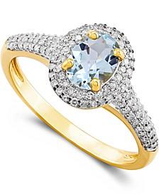 Aquamarine (5/8 ct. t.w.) & Diamond (1/3 ct. t.w.) Ring in 10k Gold