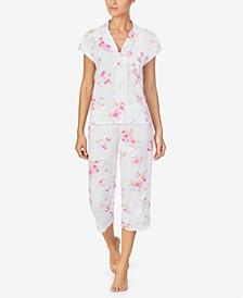 로렌 랄프로렌 파자마 세트 Lauren Ralph Lauren Floral Print Short-Sleeve Capri Pajama Set,Pink/Floral