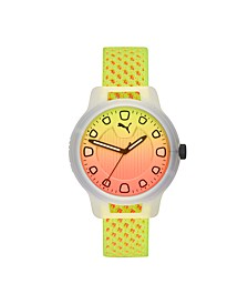 Reset V1 Three-Hand Reversible Fizzy Yellow and Energy Peach Knit Watch 43mm