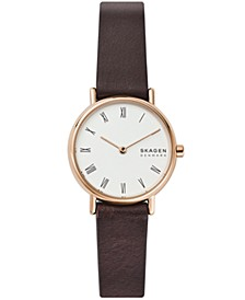 Women's Signatur Rose Gold Stainless Steel Brown Leather Watch 30mm