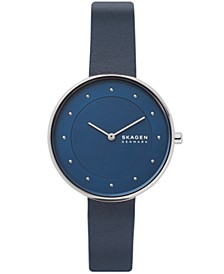 Women's Gitte Rose Gold Stainless Steel Blue Leather Watch 38mm