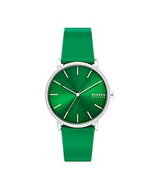 Men's Hagen Three-Hand Green Silicone Watch 40mm