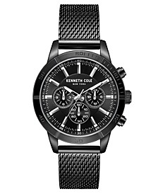 Men's Multifunction Dual Time Black plated Stainless Steel Watch on Black plated Stainless Steel Mesh Bracelet, 44mm