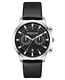 Men's Multifunction Dual Time Silver-tone Stainless Steel Watch on Black Genuine Leather Strap, 44mm