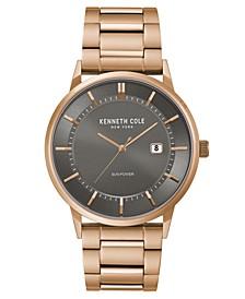 Men's  Solar Rose-Gold plated Stainless Steel Watch on Rose-Gold plated Stainless Steel Bracelet, 42mm