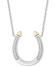 """Horseshoe Luck pendant (1/20 ct. t.w.) in Sterling Silver & 14k Gold, 16"""" + 2"""" extender"""