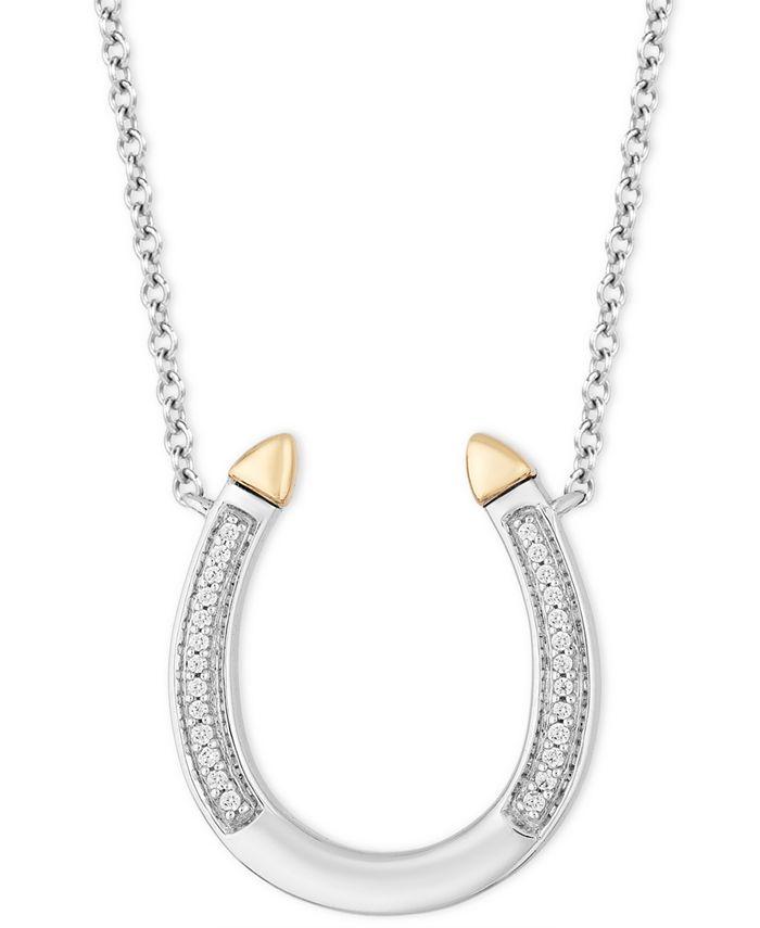 "Hallmark Diamonds - Diamond Horseshoe Pendant Necklace (1/20 ct. t.w.) in Sterling Silver & 14k Gold, 16"" + 2"" extender"