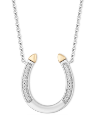 Horseshoe Luck pendant (1/20 ct. t.w.) in Sterling Silver & 14k Gold