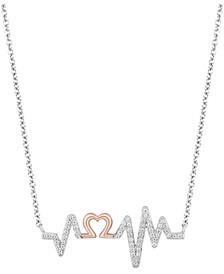 "Heartbeat Love pendant (1/6 ct. t.w.) in Sterling Silver & 14k Rose Gold, 16"" + 2"" extender"