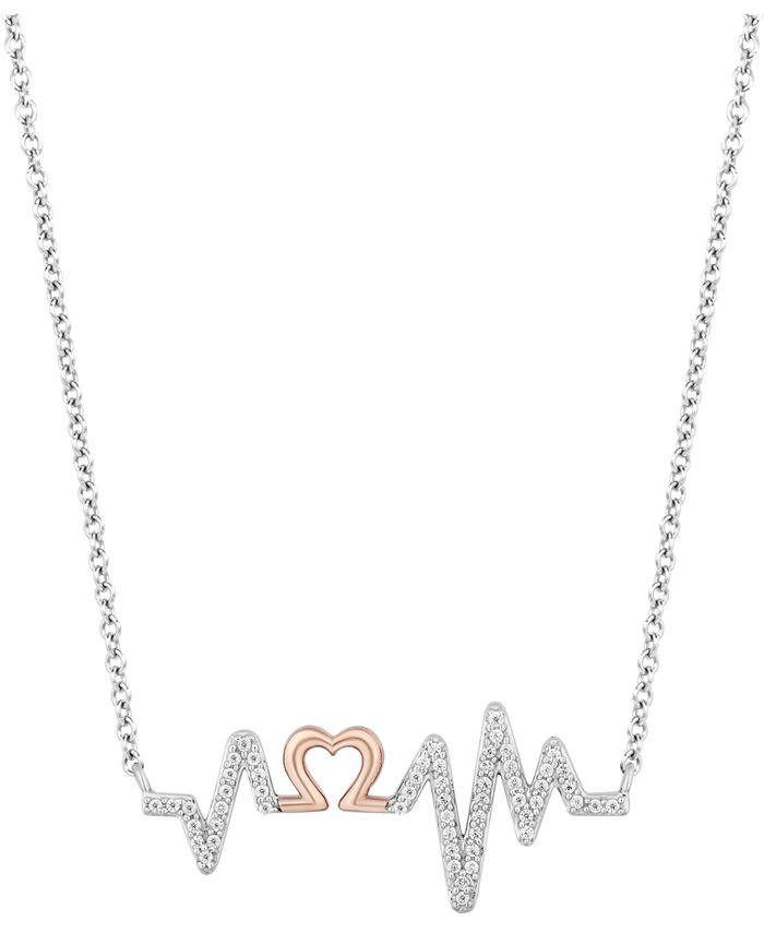 "Hallmark Diamonds - Diamond Heartbeat Pendant Necklace (1/6 ct. t.w.) in Sterling Silver & 14k Rose Gold, 16"" + 2"" extender"