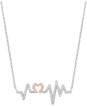 Heartbeat Love pendant (1/6 ct. t.w.) in Sterling Silver & 14k Rose Gold