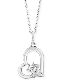 "Paw Heart Love pendant (1/10 ct. t.w.) in Sterling Silver, 16"" + 2"" extender"