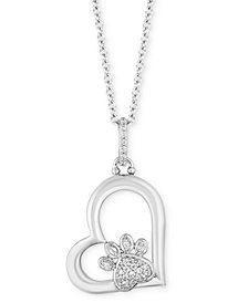 "TOKENS by Hallmark Diamonds Paw Heart Love pendant (1/10 ct. t.w.) in Sterling Silver, 16"" + 2"" extender"