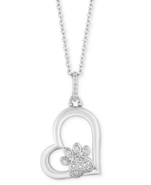 Paw Heart Love pendant (1/10 ct. t.w.) in Sterling Silver