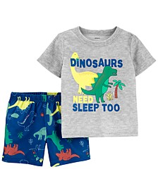 Toddler Boys 2-Pc. Dino Sleep Pajamas Set