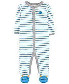 Baby Boys 1-Pc. Striped Monster Cotton Coverall