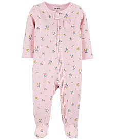 Baby Girls Cotton Ditsy Floral Footed Pajamas