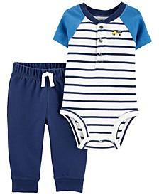 Baby Boys 2-Pc. Cotton Striped Bodysuit & Jogger Pants Set