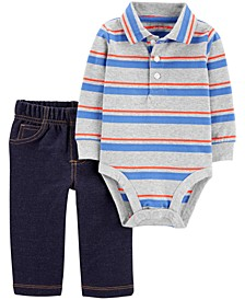 Baby Boys 2-Pc. Cotton Striped Polo Bodysuit & Denim-Look Pants Set