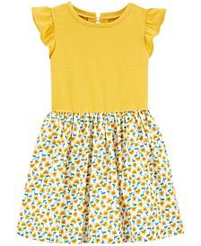 Toddler Girls Floral-Skirt Bow-Back Dress