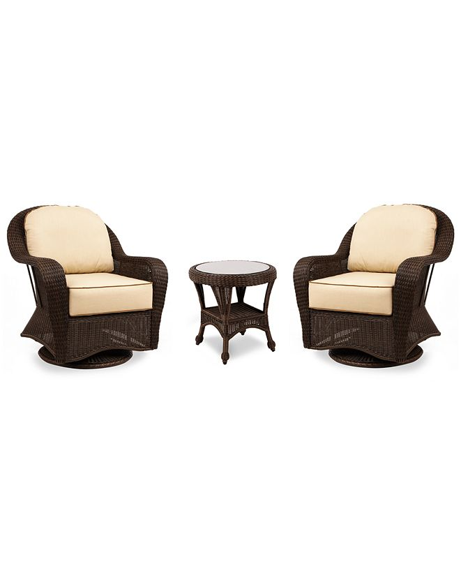 Furniture Monterey Outdoor 3-Pc. Set (2 Swivel Chairs & 1 End Table), Created for Macy's