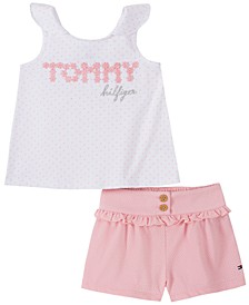 Baby Girls 2-Pc. Logo Dot-Print Tank Top & Ruffled Shorts