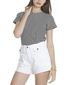 White Button Jean Shorts