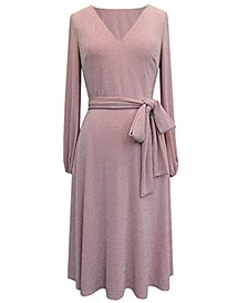 Glitter-Knit Balloon-Sleeve Fit & Flare Dress