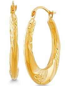 Small Textured Swirl Hoop Earrings in 14k Gold